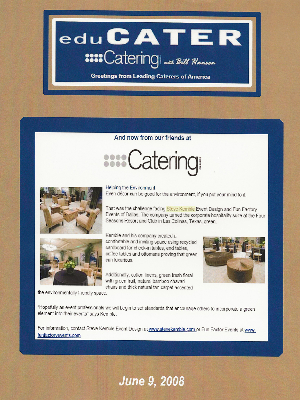 Steve Kemble Press, Catering Magazine