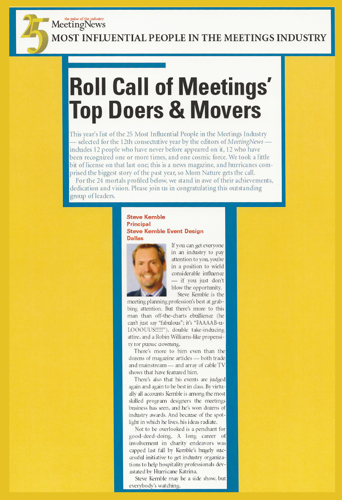 Steve Kemble Press, Meeting News