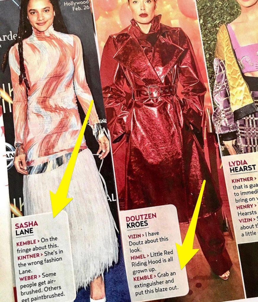 US Weekly Fashion Police with Steve Kemble, Sasha Lane, Doutzen Kroes, Lydia Hearst