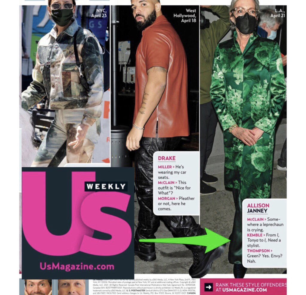 Steve Kemble in US Weekly, April, 2021 Fashion Police
